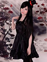 Inspirado por K-ON Mio Akiyama animado Disfraces Cosplay Trajes Cosplay / Vestidos Un Color Negro Sin Mangas Vestido / Sombrero