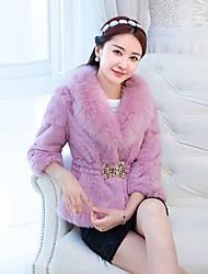 vrouwen 's europese nieuwe rex konijnenbont warme slanke korte jas