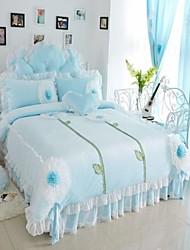 FADFAY@Romantic Blue Velvet Bedding Set Korean Sunflower Lace Ruffles Duvet Cover Set Queen