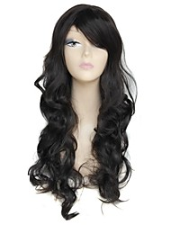26 Inch Long Black Big Wave Female Elegant Fashion 180 Degree Hight Temperature Fiber Synthetic Wig