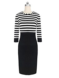 Women's Stripe Bodycom ¾ Length Sleeve Dress