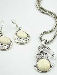 Toonykelly Vintage Antique Silver Owl Crystal Beige Turquoise(Necklace and Earring) Jewelry Set