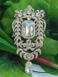 Women's Classic Alloy Gold-tone Clear Rhinestone Crystal Drop Flower Wedding Brooch Pin