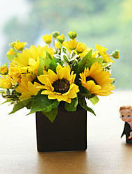 "11""H Country Sunflower In Ceramic Vase"