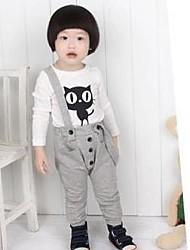 Girl's Black / Gray Clothing Set Cotton Blend Winter / Spring / Fall