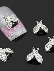 10pcs 3d inseto liga com asas de strass para colagem do prego colar nail art decoração