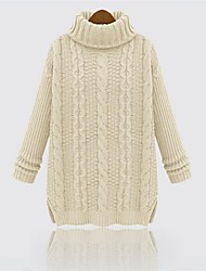 Women's High Collar Solid Color Long Sleeve Knitting Sweater(More Colors)