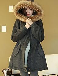 De Xue man vrouwen harige kraag tweed lange jas
