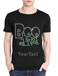 strass personalizado T-shirt do dia das bruxas boo AIVA mangas curtas de algodão dos homens padrão