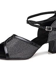 Sandálias das mulheres latinas de baixa calcanhar brilho cintilante sapatos de dança (mais cores)