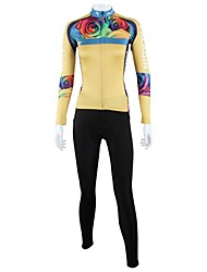 ILPALADINO Cycling Jersey with Tights Women's Long Sleeve Bike Breathable Quick Dry Windproof Back PocketJersey + Pants/Jersey+Tights