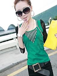 Frauen nehmen wilden Diamantnetz langärmelige T-Shirt