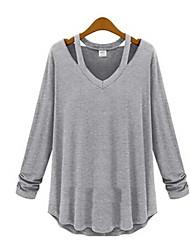 mokio coreano moda causal pescoço v manga longa tshirt das mulheres