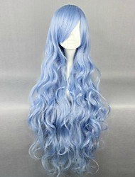 luz azul sexy largo y ondulado partido pelo peluca cosplay sintética para dama yong