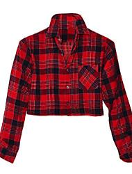 Chemise Aux femmes,Tartan Décontracté / Quotidien simple Printemps / Eté / Automne Manches Longues Col de Chemise Rouge Coton Opaque