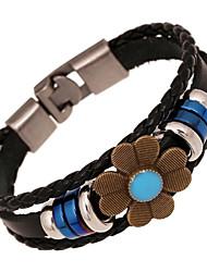 кожа очарование braceletsz&X® старинных панк браслеты цветок кожа прядей