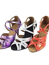 Customizable Women's Dance Shoes Latin Leatherette Customized Heel Purple/White/Other