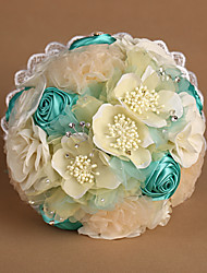 Chiffon Flowers & Satin Roses with Lace Wedding Bouquet