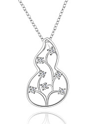 Fine Jewelry 925 Sterling Silver Jewelry Gourd with Flower Pendant Necklace for Women