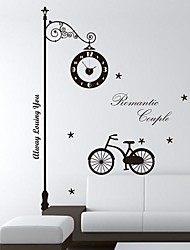 Wall Stickers Wall Decals,  Modern Under the streetlight cycle clock PVC Wall Stickers