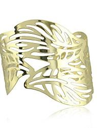 Punk moda contratada acácia folhas douradas pulseiras ocos