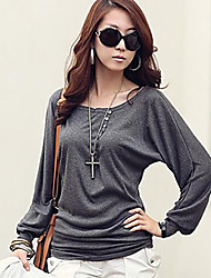 Women's Solid Black/Gray/Wine T-shirt,Casual Round Neck Batwing Long Sleeve Botton