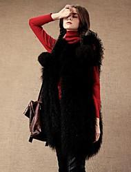 chaleco de la piel a largo ropa exterior imitación invierno ovejas de imitación de las mujeres