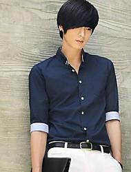Men's Korean Style Slim Lapel Long Sleeve Shirt