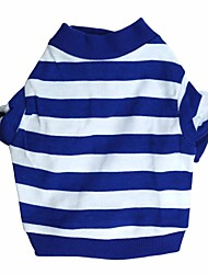 Chat Chien Tee-shirt Bleu Vêtements pour Chien Eté Rayure