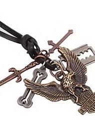 Vintage Tercel Pandent Hide Rope Men's Necklaces(1pc)