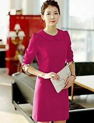Women's Work Sheath Dress,Solid Peter Pan Collar Mini ¾ Sleeve Red / Black / Green Cotton Fall