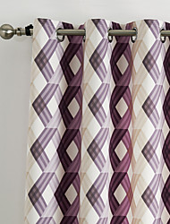 Philips Young - (Two Panels) Contemporary Warm Colors Overlapping Lattice Curtain