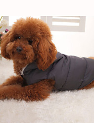 Dog Coat / Vest Gray Dog Clothes Winter Solid Keep Warm