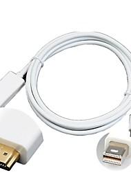 1.8M 6ft Thunderbolt Mini DisplayPort DP to HDMI Cable Cord Audio for Mac Macbook