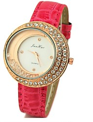 JINI  Ladies Diamond moon Leather Strap Watch