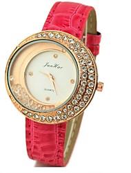 Jini дамы алмаз луна кожаный ремешок часы