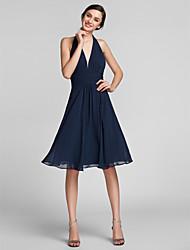 Sheath / Column Halter Knee Length Chiffon Satin Bridesmaid Dress with Draping Ruching by LAN TING BRIDE®