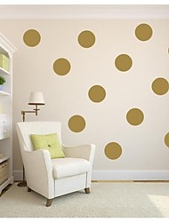 JiuBai® Gold Polka Dot Wall Sticker Wall Decal,18CM/Dot, 10Dots/Set