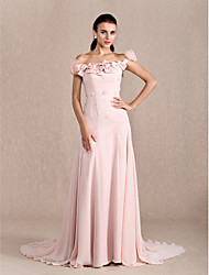 TS Couture Formal Evening Dress - Floral A-line Princess Off-the-shoulder Court Train Chiffon with Beading Bow(s) Flower(s)