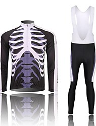 West biking Cycling Jersey with Bib Tights Men's Long Sleeve Bike Jersey Tights Bib Tights Clothing SuitsQuick Dry Anatomic Design