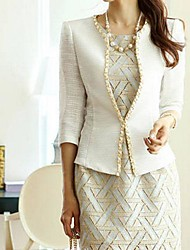 Women's White Blazer , Casual ¾ Sleeve