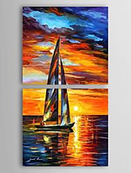 Peint à la main Paysage Deux Panneaux Toile Peinture à l'huile Hang-peint For Décoration d'intérieur