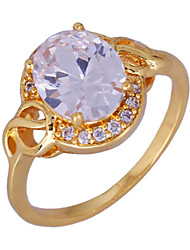Dang Dang New Fashion Design Noble Plated 18K Gold White Zircon Diamond Engagement Ring J1679