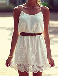 Women's Dress Mini Sleeveless White Summer