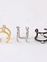 punky breve de acero de titanio diamante puños del oído (plata, negro, oro) (1 pc)