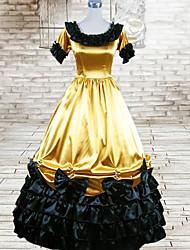 Short Sleeve Floor-length Yellow  Silk Gothic Lolita Dress