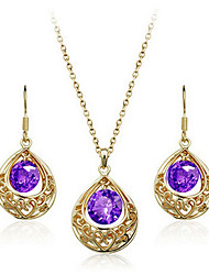 KASI Royal Vintage  Water Drop Pendant Earring Necklace 2Pcs