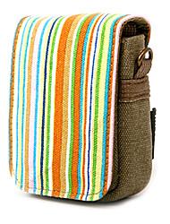 striscia colorata di tela borsa della macchina fotografica digitale con la spalla&cinghia in vita [arcobaleno]