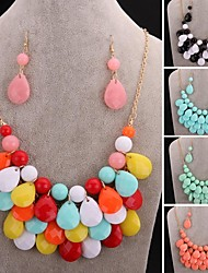 (Earrings and Necklace)Big Diamond Necklace Earrings Suit Fashion and Personality