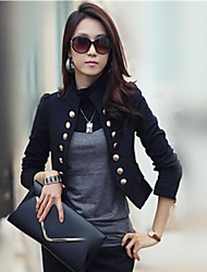 Women's Button Black White Short Blazer, Stand Collar Double Breasted Long Sleeve